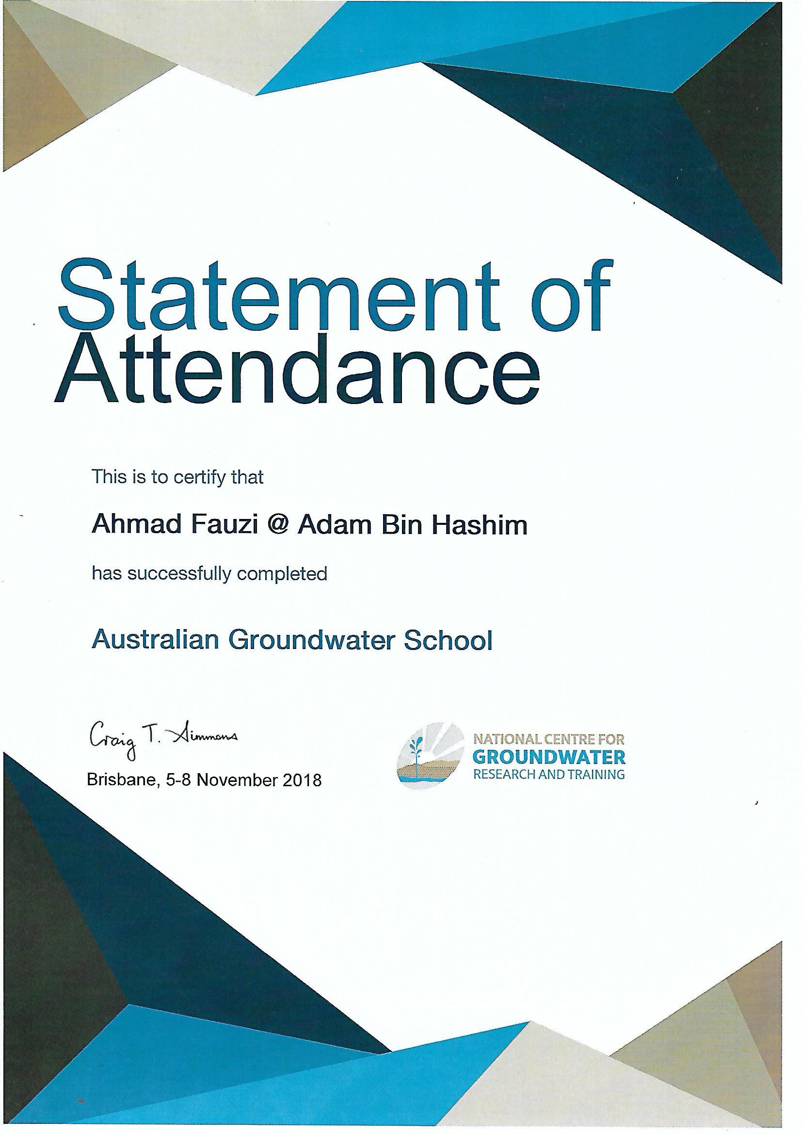 AGS Cert 2018 Brisbane