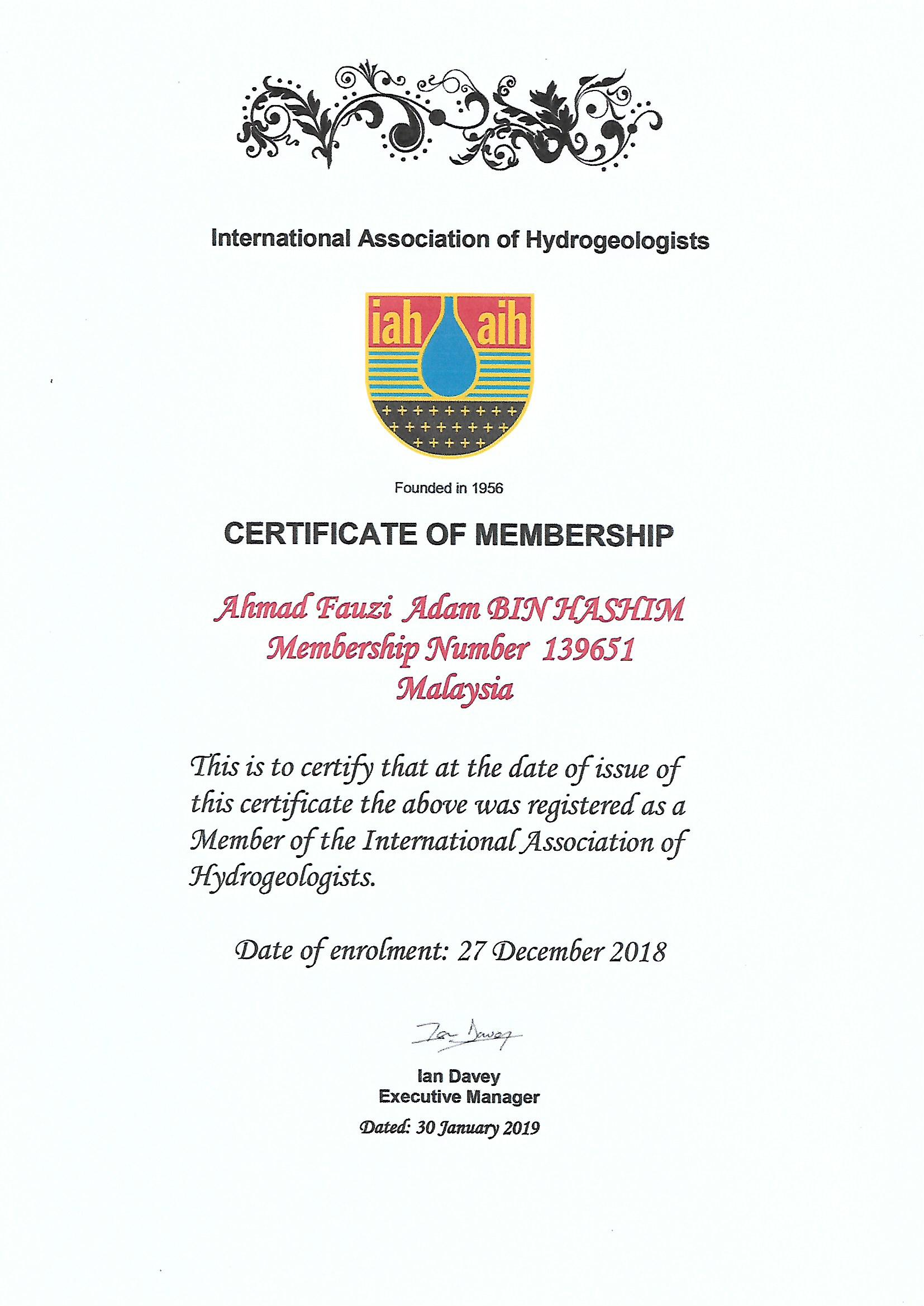 IAH Cert-Adam Hashim