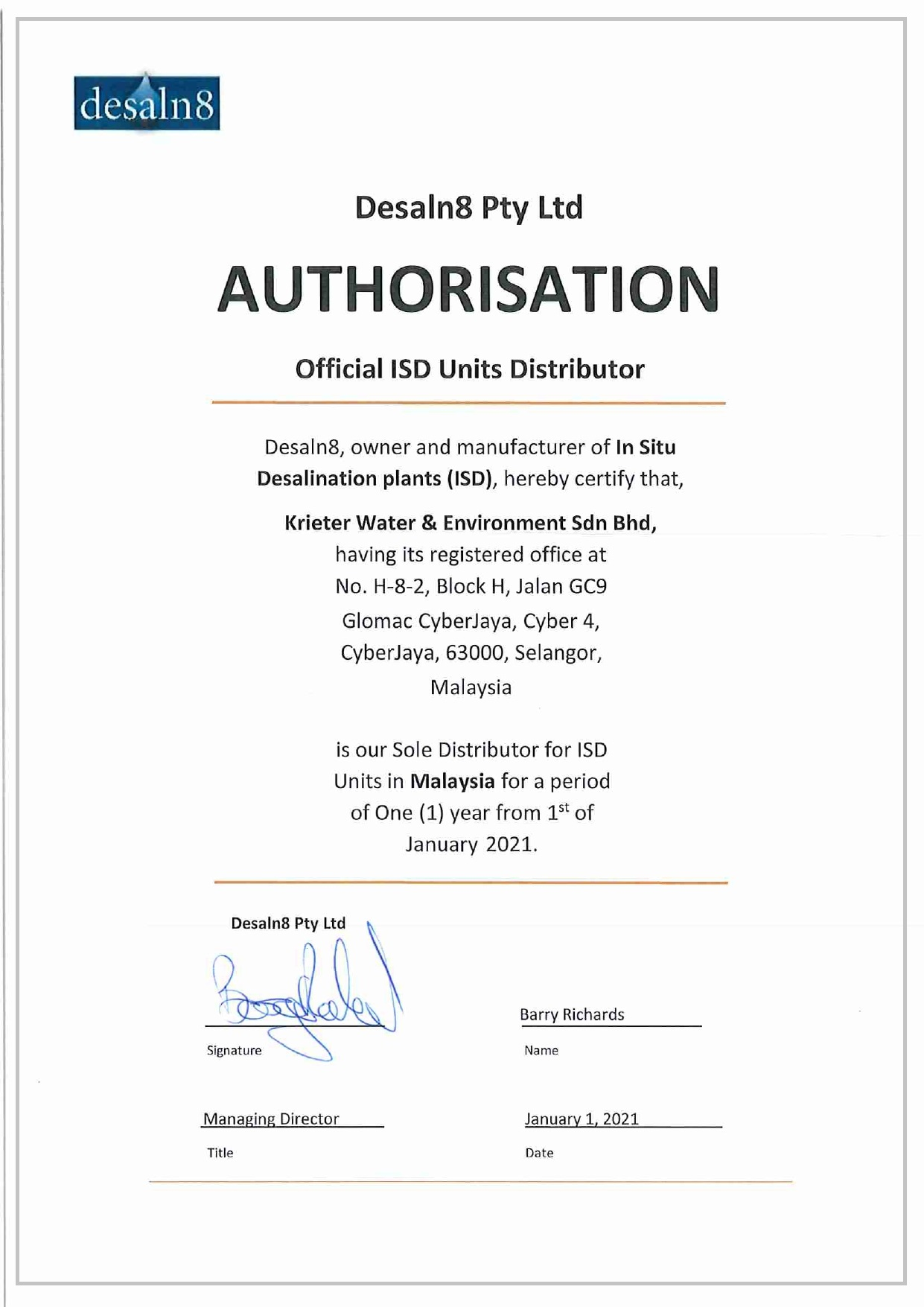 MALAYSIA - ISD units Distributor Certificate_Desaln8 Pty Ltd signed_page